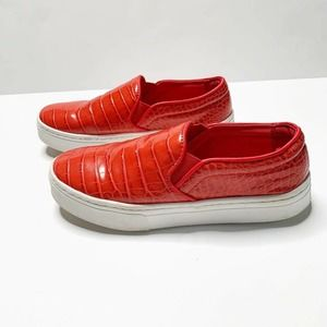 Sam Edelman Lacey Red Crocodile Loafers Size 7.5